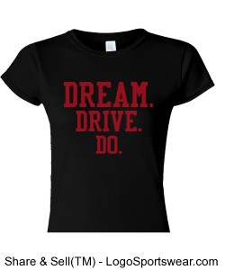 WOMENS BLACK CAP SLEEVE TEE DREAM.DRIVE.DO. Design Zoom