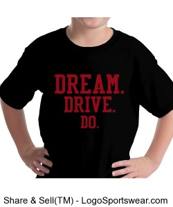 YOUTH BLACK COTTON TEE. DREAM.DRIVE.DO. Design Zoom